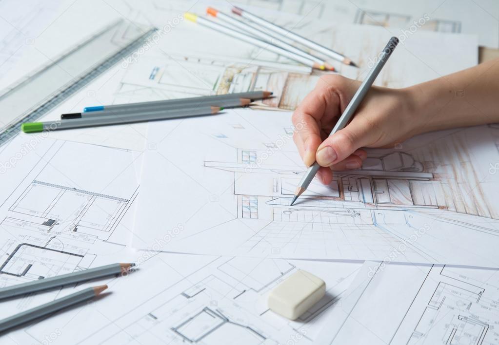 室内设计师工程绘图素描使用彩色铅笔