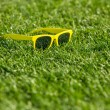 Yellow glasses on a green grass — 图库照片