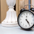 Black vintage alarm clock — Stock Photo