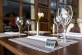 Reserved table in a restaurant — Stock Photo