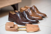 Brown men's shoes and shoe stratchers — Foto Stock