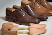 Brown men's shoes and shoe stratchers — Stock fotografie