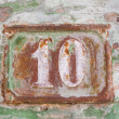 Stock Photo: Rustted number 10 (ten)