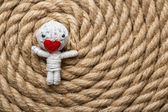 Valentine thread doll — Stock Photo