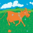 Red cow — Stock Vector