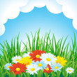 Spring or summer background with flowers and clouds — Stock Vector