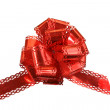 Big red holiday bow on white background — Stock Photo #3347034