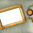 Wooden frame with old watch — Stock Photo #4528891