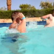 Boys in pool — Stockvideo