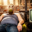 Stock Photo: Man in a gas mask