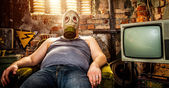 Man in a gas mask — Stock Photo