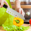 Woman's hands cutting vegetables — Stock Photo #13764922