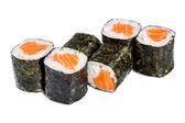Sushi (Roll syake maki) on a white background — Stock Photo