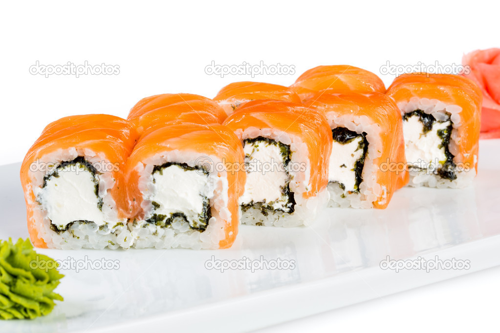 Sushi (Roll unagi maki syake) on a white background  Stock Photo #14974833
