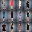 Collection of women's dresses - Stock Photo