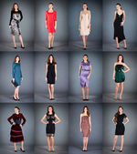 Collection of women's dresses — Stock Photo