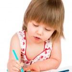 Little baby girl draws pencil — Stock Photo