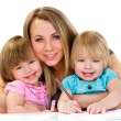 Mom and daughters, happy family — Foto Stock