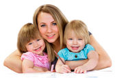 Mom and daughters, happy family — Stock Photo