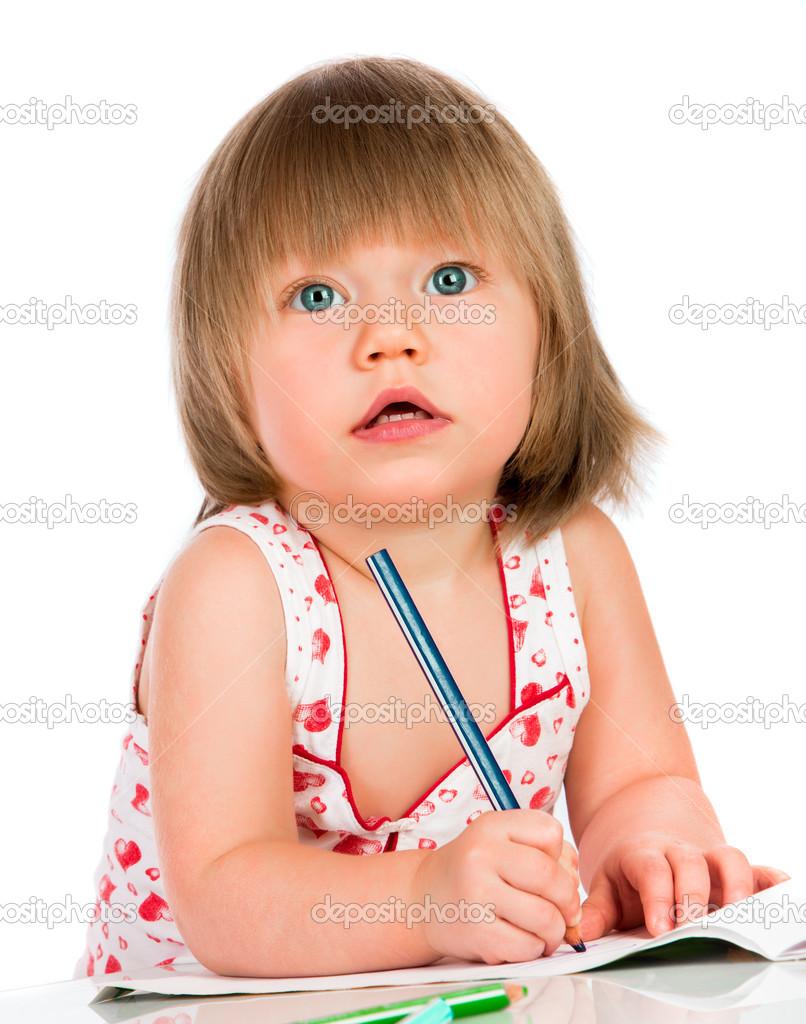 Girl Drawings Little Baby Girl Draws Pencil
