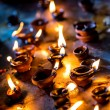 Burning candles in the Indian temple. Diwali  the festival of lights. - Photo