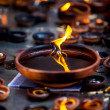Burning candles in the Indian temple. Diwali  the festival of lights. - Stock Photo