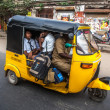 THANJAVUR, INDIA - FEBRUARY 13: Children go to school by auto ri - Stock Photo