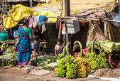 THANJAVUR-FEBRUARY 14: Sellers of bananas — Foto de Stock