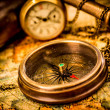Vintage compass lies on an ancient world map. — Stock Photo #23164320