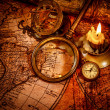 Vintage still life. Vintage items on ancient map. - Stock Photo