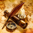Vintage still life. Vintage items on ancient map. — Stockfoto