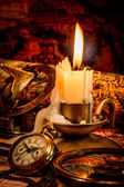 Morta d'epoca. oggetti d'epoca antica mappa. — Foto Stock