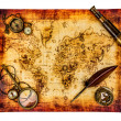 Stock Photo: Vintage still life. Ancient world map isolated on white.