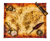 Vintage still life. Ancient world map isolated on white. — Stock Photo