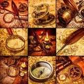винтаж натюрморт. старинные предметы на древней карте. — Стоковое фото