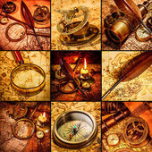 Vintage still life. Vintage items on ancient map. — Stock fotografie