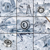 Technical drawings with the bearing — Stock Photo