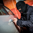 Stock Photo: Car thief in a mask.
