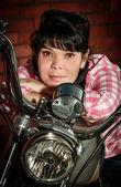 Real biker girl — Stock Photo