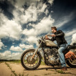 Biker on the road — Stockfoto