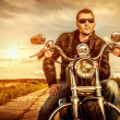 Biker on a motorcycle — Foto Stock