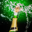 Splashing champagne — Stock Photo