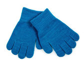 Blue Knit Gloves isolated — Stock Photo