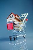 Shoppingvagn och hus — Stockfoto