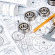 Ball bearings on technical drawing — Stock Photo