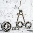 Ball bearings on technical drawing — Stock Photo #31887959