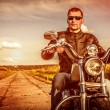 Biker on a motorcycle — Stock fotografie