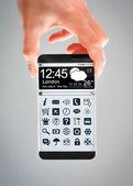 Smartphone mit transparenter bildschirm in menschenhand. — Stockfoto