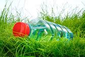 Botella de agua sobre la hierba — Foto de Stock