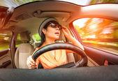 Women driving a car — Stock Photo